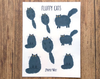 Fluffy Black Cats Sticker Sheet - Kawaii Stickers Set For Planners and Bullet Journals