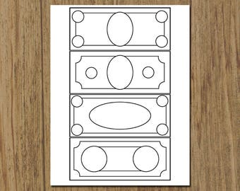 Printable Childrens Play Money Coloring Sheet