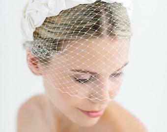 "Birdcage Wedding French Netting Headpiece - ""Chloe-Birdcage"""
