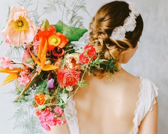 Brauthaarschmuck Hochzeit, Boho Blütenhaarband Seide - Anna