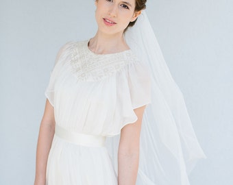 Bridal boho wedding veil fingertip length  - Emma