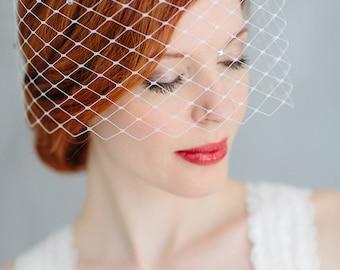 "Wedding Fascinator Birdcage - ""June-crystal"""