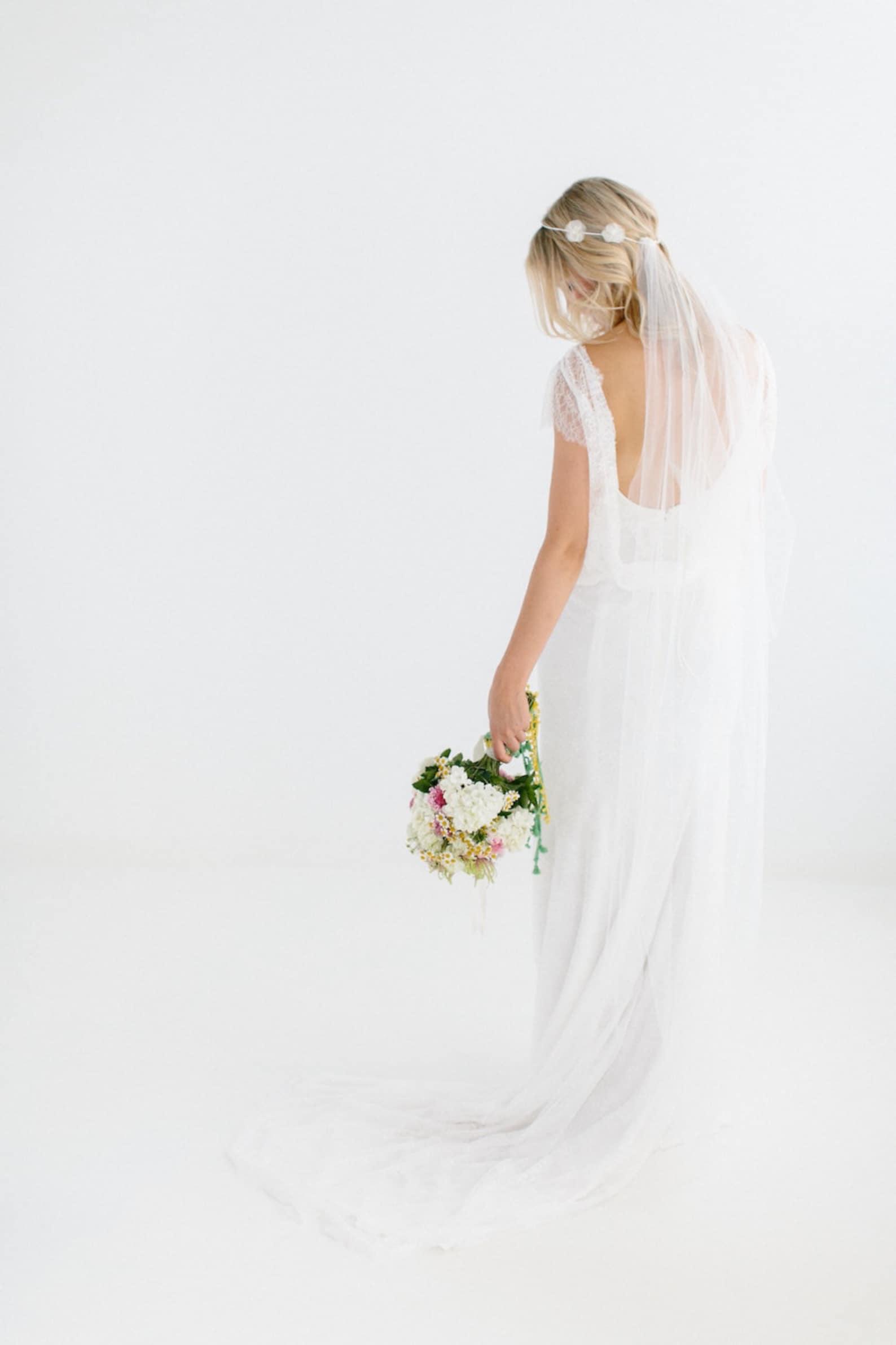 Brautschleier schlicht bodenlang