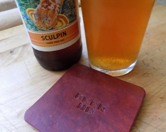 Handcrafted Leather Beer Me Coaster (SINGLE COASTER)