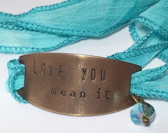 Love You Mean It, Ombre Teal Ribbon Wrap Bracelet, Hand Stamped