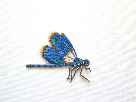 Blue Spring Dragonfly Insect Embroidery Applique Patch
