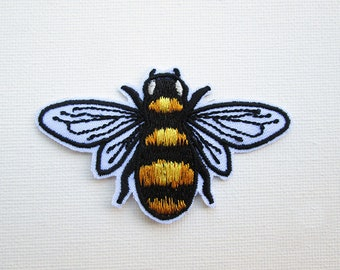 Honey Bee Embroidered Patch Iron on Honey Bee Patches for Jackets Save the Bees Knees Cute Fashion Bumble Bee Applique Insect DIY accessory