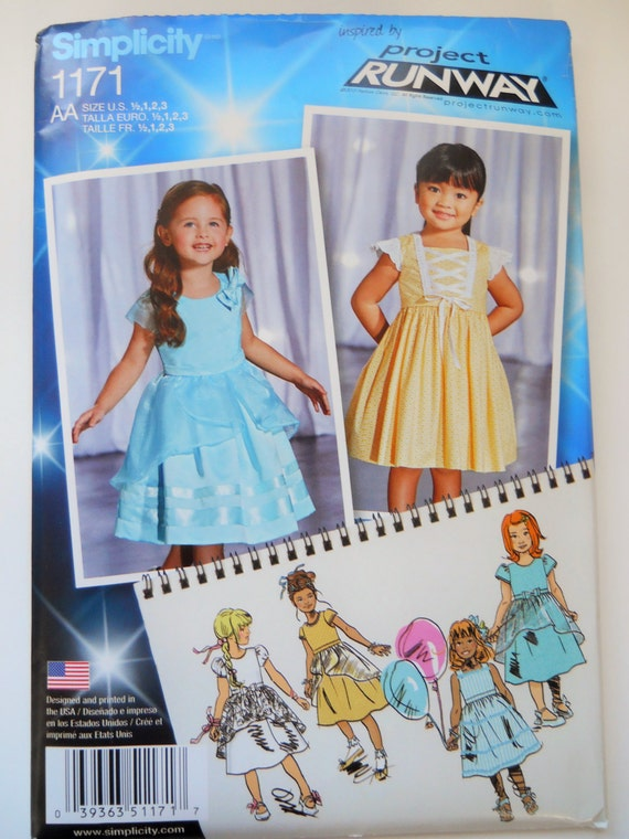 Simplicity Sewing Pattern 1171 Project Runway Toddlers Etsy