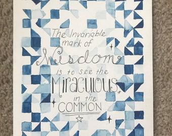 Ralph waldo emerson quote watercolor original