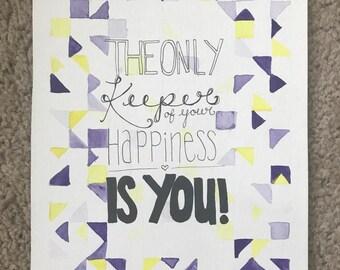 Motivational quote watercolor original