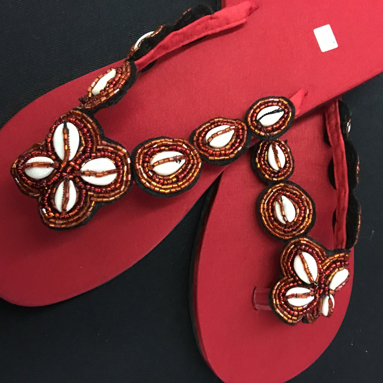 82a5259b3cfc Red seedbeaded and shell handmade flip flops slides thongs etsy jpg  1500x1500 Shell flip flops