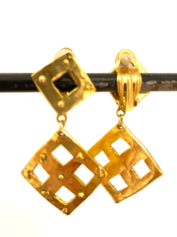 Peach Gold and Teal Blue Shimmering Two-Tone Color Block Geometric Resin Dangle Earrings