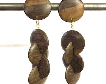 Vintage retro handmade natural wood disc drop clip on earrings