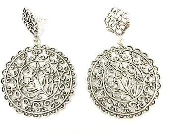 Sterling silver filigree baroque earrings