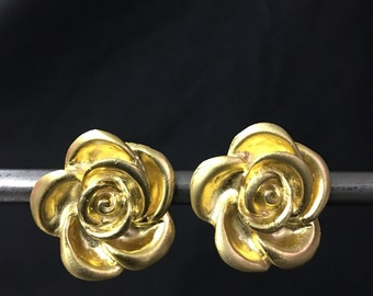 Vintage rose satin gold plated clip on earrings