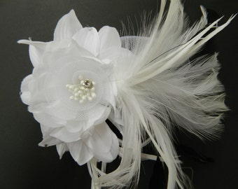 Vintage white flower with feathers fascinator hair clip or pin brooch