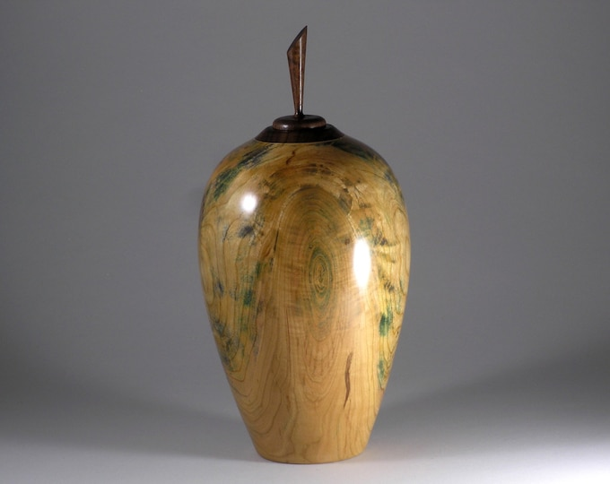 Cherry vase with walnut top