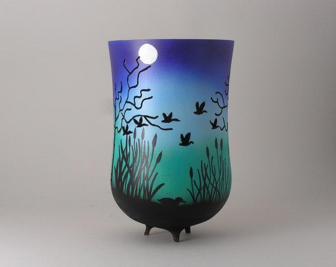 Ducks Flying in the Moonlight