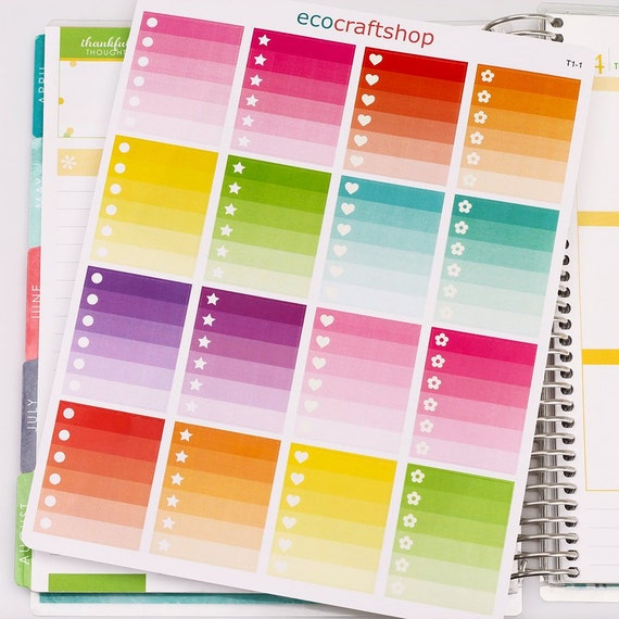 OMBRE CIRCLE STAR HEART FLOWER TO DO CHECKLIST Condren Planner Erin Sticker T1-1