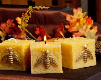Bee Square Pillar Beeswax Candle