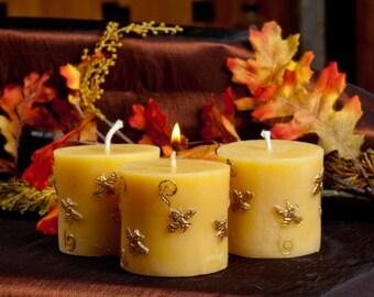 Short Bee Pillar Beeswax Candle