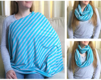 Nursing Scarf / Infinity Scarf / Nursing Cover / Breastfeeding Cover - Aqua Blue and Heathered Gray Stripes Jersey Knit