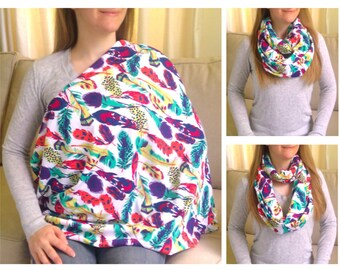 Nursing Scarf / Infinity Scarf / Nursing Cover / Breastfeeding Cover - Bright Feathers on White Jersey Knit