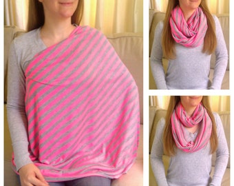 Nursing Scarf / Infinity Scarf / Nursing Cover / Breastfeeding Cover - Pretty Neon Pink and Heather Gray Stripes Jersey Knit