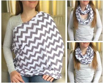 Pretty Gray Chevrons Jersey Knit Nursing Scarf / Infinity Scarf / Nursing Cover / Breastfeeding Cover