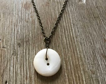 "Vintage Mother of Pearl Necklace ""Rounded and Worn"""