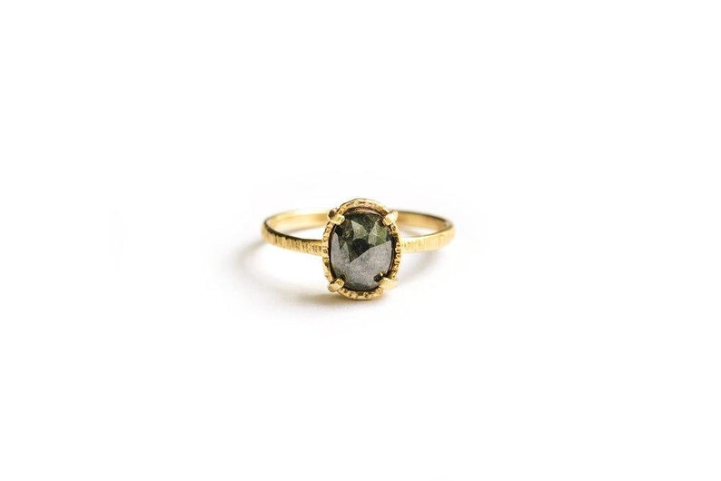 Natural Oval Gray Diamond Engagement Ring Hammered 14k Gold  image 0