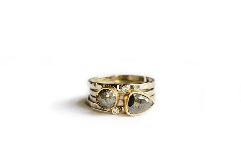 Gray Diamond Stacking Rings  Hammered Recycled 14k Gold Rose image 0