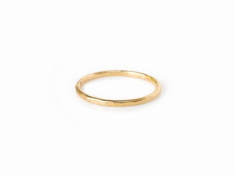 Hammered Thread  Stackable Wedding Band 14k Hammered Gold image 0