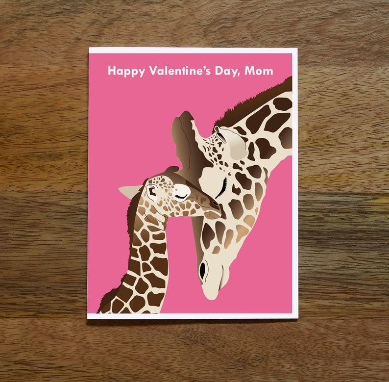 Happy Valentines Day Mom Giraffes Kids Mother Etsy