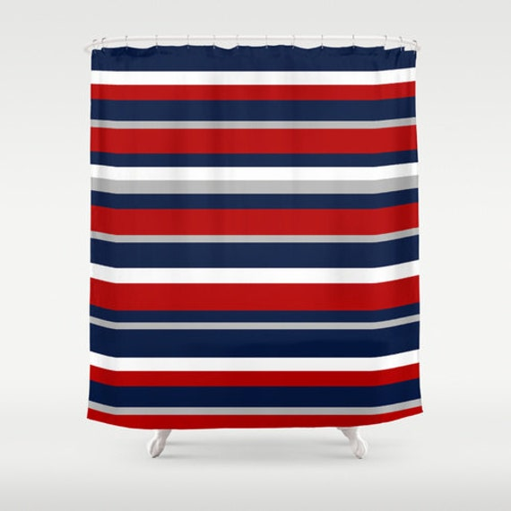 Flag Stripe Shower Curtain Red White And Blue Shower Curtain