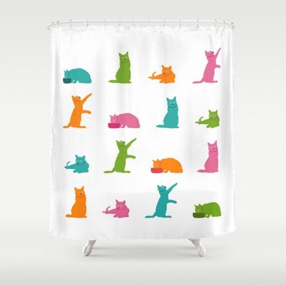 Multicolor Cat Shower Curtain, White Shower Curtain, Cute Shower Curtain, Cat Bathroom Decor, Cat Lover Gift, Cat Home Decor