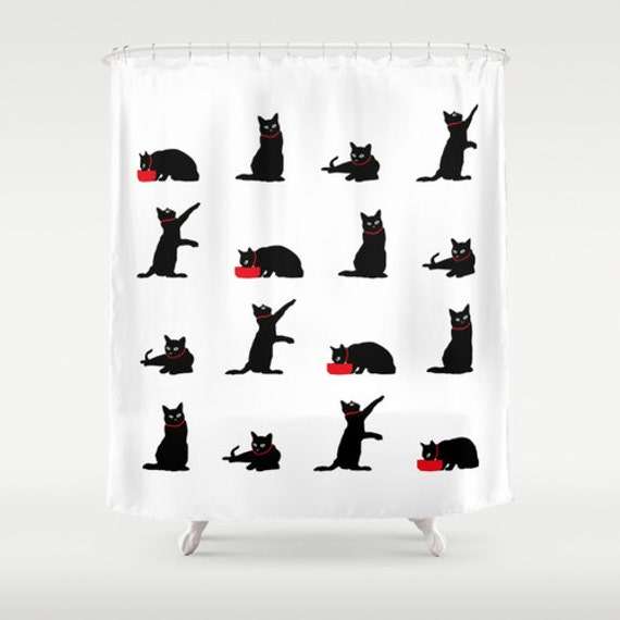 Cat Shower Curtain, Black and White Shower Curtain, Cute Shower Curtain, Cat Bathroom Decor, Cat Lover Gift, Cat Home Decor