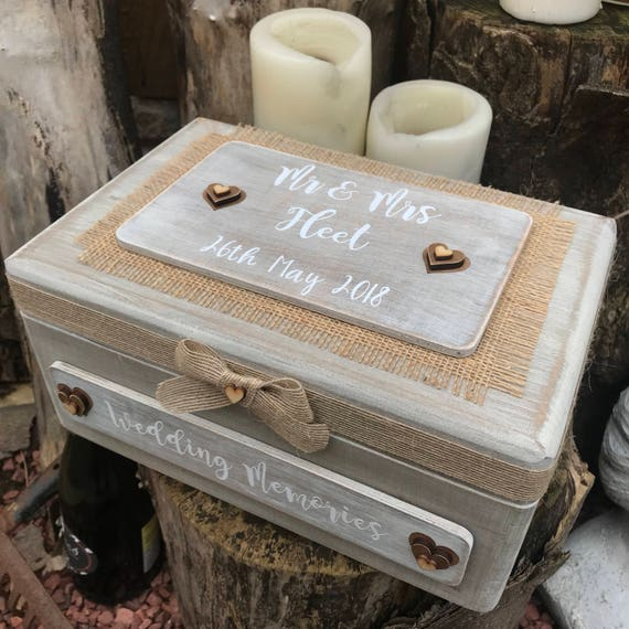 Wedding Keepsake Box Wood Memory Box Personalised Gift Box Rustic Wooden Keepsake Box Wedding Memory Chest Mr And Mrs Wedding Gift