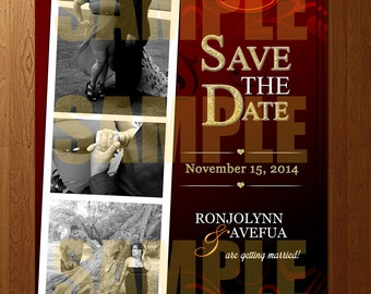 Red & Black Photo Strip Save the Date - DIGITAL FILE