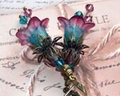 Aqua and Amethyst Flower Earrings, Hand Painted Flower Earrings, Boho Dangle Earrings, Vintage Style Earrings, Swarovski Crystals, Bronze