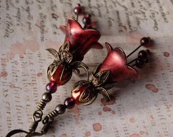 Copper Red Flower Earrings, Red Flower Earrings, Vintage Style Earrings, Boho Flower Dangle Earrings, Garnet Earrings, Mothers Day Gift