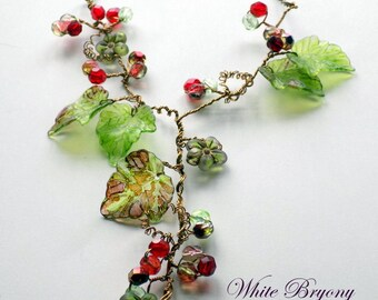 """Vine Necklace, """"White Bryony'', Vintage Style Flower Necklace, Boho Necklace, Nature Jewelry, Hand Painted, Rustic Wedding Jewelry"""