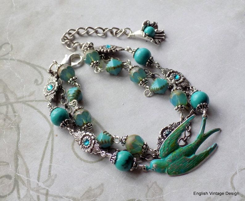 Antique Silver Boho Turquoise Bird Bracelet Unique Gift for Her 3 Strand Vintage Style Bracelet Turquoise Bracelet Czech Glass Bracelet