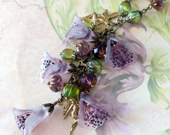 "Lucite Flower Necklace, ""Foxgloves & Fairies'', Vintage Style Flower Necklace, Boho Necklace, Handmade Necklace, Hand Painted"