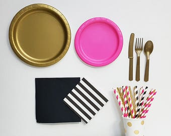 Gold Paper Plate Set Gold Paper Straws Gold Hot Pink u0026 Black Paper Plates & Gold Paper Plate Set Gold Paper Straws Gold Hot Pink u0026 Black