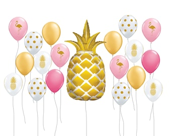 "Pineapple Balloon Kit, 44"" Gold Pineapple Party Balloon, Flamingo Balloon, Tropical Decor, Pool Party Supplies, Tropical Balloon Decor"