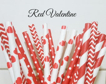 Paper Straws, Party Straws, Red Heart Paper Straws, Party Supplies, Wedding Supplies, Stripe Straws, Decor Paper Straws, Love Paper Straws