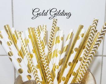Gold Paper Straws, Party Straws, Vintage Paper Straws, Party Supplies, Wedding Supplies, Gold Stripe Straws, Decorative Paper Straws