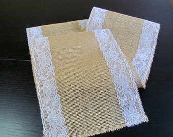 Burlap And Lace Table Runner Wedding Event Supplies Etsy