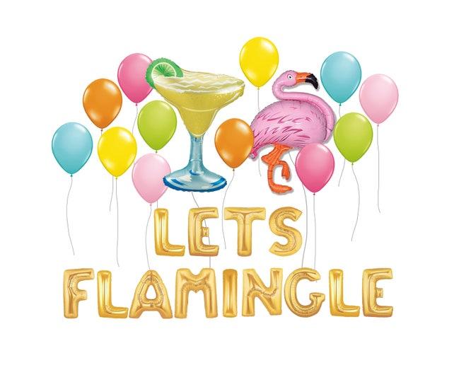 """Lets Flamingle Balloon Kit, 36"""" Flamingo Party Balloon, Tropical Decor, Luau Decor, Summer Decor, Pool Party Supplies, Pink Tropical Balloon"""